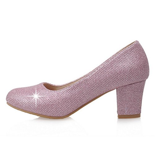 AllhqFashion Damen Rund Zehe Niedriger Absatz Weiches Material Ziehen Auf Pumps Schuhe Rot