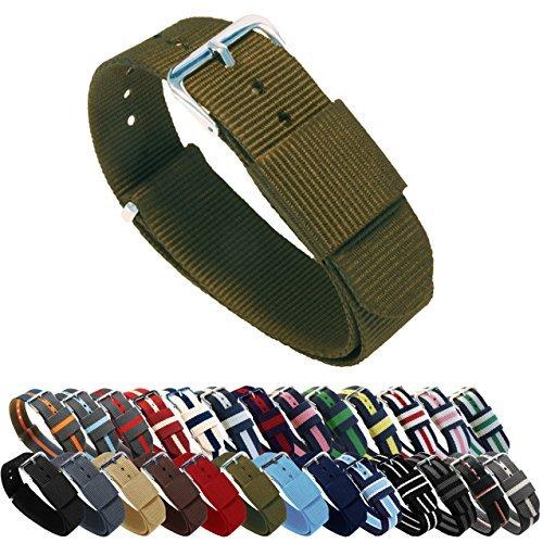 BARTON Watch Bands Uhrenarmband, Farb- und Längenauswahl (18 mm, 20 mm, 22 mm oder 24 mm), Bänder aus ballistischem Nylon, unisex, NAR18, armee-grün, 18mm - Standard (10