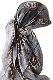 Deresina Headwear Quadratische Kopftuch, Schal aus Baumwolle FÜR Haarverlust, Krebs (1.18mx1.18m) (Grau)