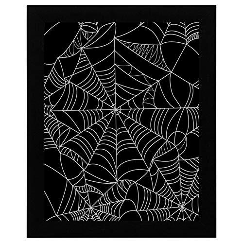 SHAOKAO Wandkunst für Mädchen Halloween Spinnennetz Muster Kunst Wand 17 x 13 Zoll gerahmte Print Kunstdruck Vintage Wörterbuch Buch Zeitung Seite Kunstdruck Wandkunst leichte Wandkunst