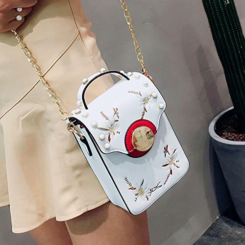 handy-tasche perle Mini-Stickerei Stickerei Blume mädchen Kette Schulter messenger bag Weiß