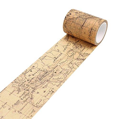 good01Washi Tape Dekoratives Papier Klebeband DIY Selbstklebend Scrapbook Aufkleber, Weltkarte, Einheitsgröße - Scrapbook-papier Weltkarte