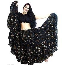 Dancers mundo 25Yard algodón falda de lunares Tribal Gypsy Belly Dancing, negro