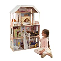 KidKraft 65023 Savannah Wooden Dolls House with Furniture and Accessories Included, 4 Storey Play Set for 30 cm/12 Inch Dolls