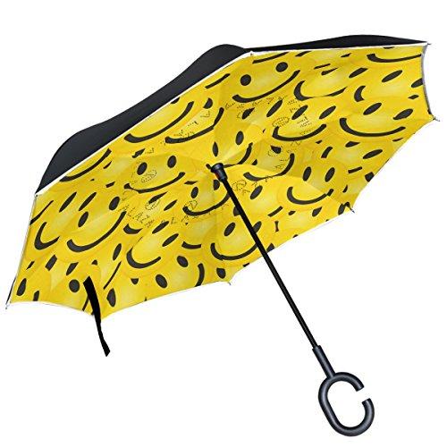 ALAZA Smile Emoji-Face gelb Hintergrund seitenverkehrt Regenschirm Double Layer Winddichte Rückseite Faltbarer Regenschirm für Auto mit C-förmigem Henkel -