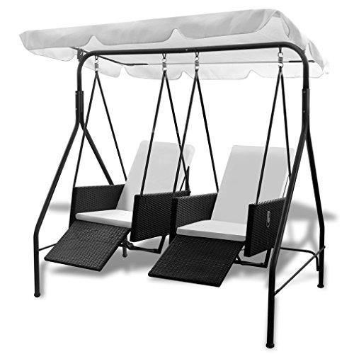 Festnight Hängesessel Rattan Hängestuhl Schaukelstuhl Sessel mit 2 Kissen 185 x 120 x 180 cm für Garten oder Terrasse
