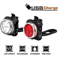 Fahrrad licht Led Set, Wiederaufladbares USB Fahrrad licht Vorne Fahrrad Rücklicht Set, Wasserdicht LED Fahrradlampe Kinder Fahrradbeleuchtung mit Aufladbar 650mAh Akku, 4 Licht-Modi, 2USB-Kabel