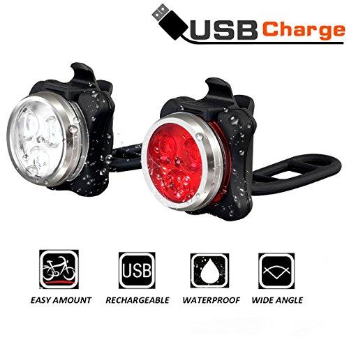 Fahrrad licht Led Set, Wiederaufladbares USB Fahrrad licht Vorne Fahrrad Rücklicht Set, Wasserdicht LED Fahrradlampe Kinder Fahrradbeleuchtung mit Aufladbar 650 mAh Akku, 4 Licht-Modi, 2 USB-Kabel (white+red)