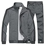 Mirecoo Men's Casual 2 Pieces Contrast Cord Full Zip Sports Sets Jacket & Pants Tracksuit