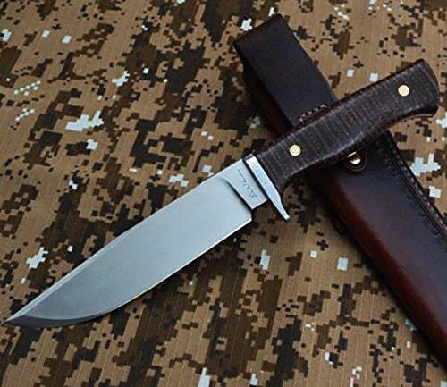 LW Boa 2 Gürtelmesser Jagdmesser feststehende messer fahrtenmesser Überlebensmesser D2 stahl klinge survival messer aus rostfreiem Mosaic Rivets nieten mit Leder scheide Erwachsene -