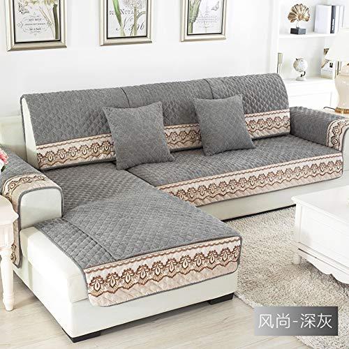 WSFJ Sofa dämpfung,Winter Europäische Anti-rutsch Spitze Sofa Handtuch,Einfache Moderne Vier Jahreszeiten Allgemeine Wohnzimmer Sofabezug-Grau 90x180cm(35x71inch)