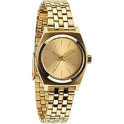 Nixon Small Time Teller - Reloj de cuarzo para mujer, correa de acero inoxidable color dorado