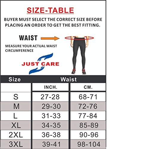 Just Care Men's Running Full Length Tights Compression Lower Sport Leggings Gym Fitness Sportswear Training Yoga Pants for Men & Women (Black, Medium)