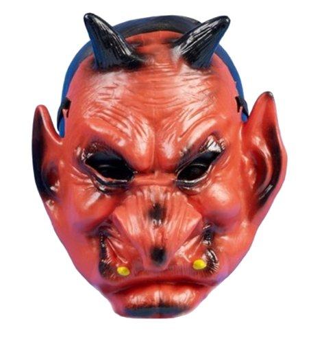 Red Devil Halloween Rubber Feel Face Mask (Maske/Maske)