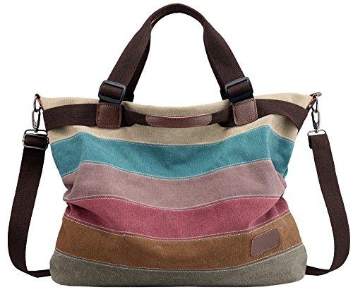 Damen Multi-Color Leinwand Handtasche Schultertasche Umhängetasche Tasche Mehrfarbig Henkeltasche aus Canvas -