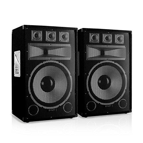 Skytec TX15 Passiv-PA-Lautsprecher Paar 500W Boxen für Bühne und Konzert (38cm (15 Zoll) Subwoofer, 2x 250W RMS, Bassreflex, Stativflansch) schwarz