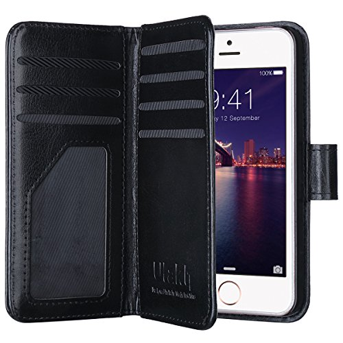 Iphone Case Clip 5s Gürtel Leder (iPhone 5S Hülle, ULAK iPhone SE Hülle Flip Luxus Premium PU Leder Tasche + 9 Kartenschlitz & Handschlaufe für Apple iPhone 5/5S/SE (Schwarz))