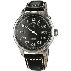 Zeno Watch Basel Herren-Armbanduhr XL Oversized Analog Automatik Leder 8554UNO-pol-a1