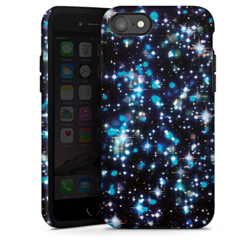 Apple iPhone X Silikon Hülle Case Schutzhülle Sterne Glitzer Muster Tough Case glänzend