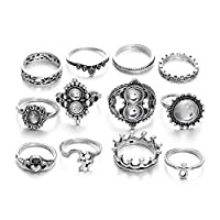 Belingeya-ac Knuckle Rings Rings 12 Pcs Retro Style Bohemian Knuckle Ring Set Vintage Silver Color Joint Knuckle Mid Ring Set For Women Ladies for Women