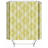 HUIYIYANG Home Bathroom Decorative Shower Bath Curtains,Simplistic Yellow Abstract Squares Intersection of Lines Display,100% Polyester Fabric Shower Curtain 36