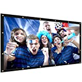 ELEPHAS Portable Indoor Outdoor 100' Projector Screen,16:9 Aspect Ratio School Home Cinema Projector Screen Roll Easily, PVC Fabric