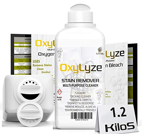 Sodium Percarbonate Oxygen Bleach Stain Remover Oxylyze Decking Cleaner Multiple Use Instructions Included Patio Cleaner Mould and Algae Remover Laundry and General Cleaner 1.2 Kilograms