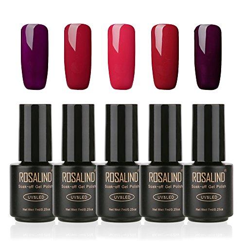 NagelKunst Design 7Ml genießen Sie klassische rote Farbe Gel Nagellack Set langlebige LED UV-Lack Nail Salon Nagel Kleber, 5 Flasche (rot 3)