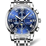 HRTJJT Mechanical Watch Men Phase Moon Luminescence Multifunzione Stainess Steel, Due