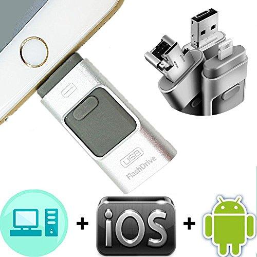 SETAYO 32GB 3 in 1 OTG Mobile USB3.0 Flash Drive mit Blitz Anschluss für iPhone iPad und Android Micro USB und PC & MAC (Digital-movie-speicherung)