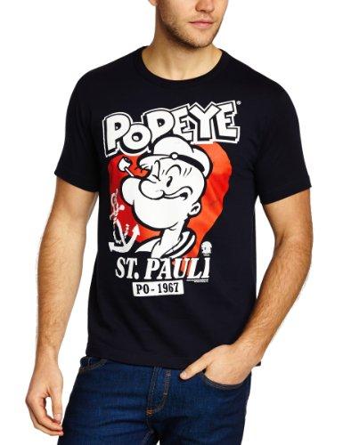 Logoshirt Herren T-Shirts  Popeye - St. Pauli, Rundhals  - Blau - Blue (Navy) - Medium (Herstellergröße: (Charaktere Kostüme Popeye)