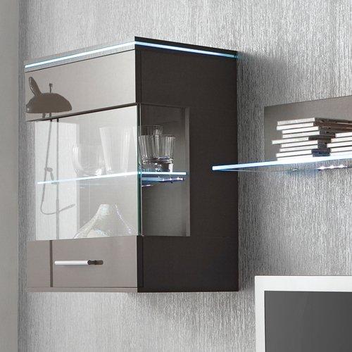 Anbauwand 3-tlg. in Hochglanz grau, TV-Element, Hängevitrine, Glasbodenpaneel, Mindestbreite: ca. 180 cm, Tiefe: ca. 40 cm - 2