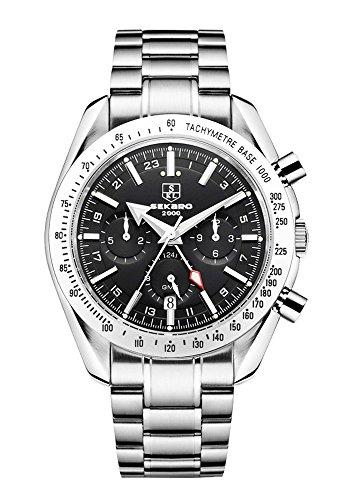Preisvergleich Produktbild SEKARO Herren-Armbanduhr,Leuchtende Nacht Wasserdicht Edelstahl Multifunktions-mechanische Uhren Uhr