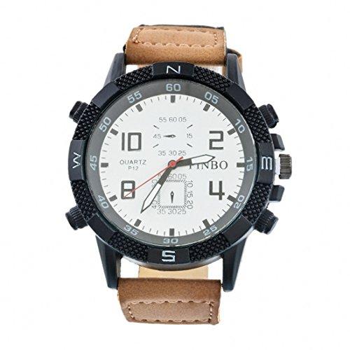 Souarts Herren Armbanduhr Einfach Stil Sport Analoge Quarz Uhr Hellbraun 24cm