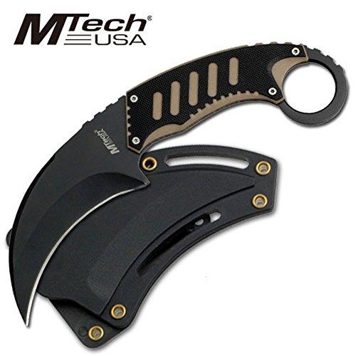 MTech Messer Karambit schwarz 440 Fahrtenmesser G10 Griff Scheide MT-665BT