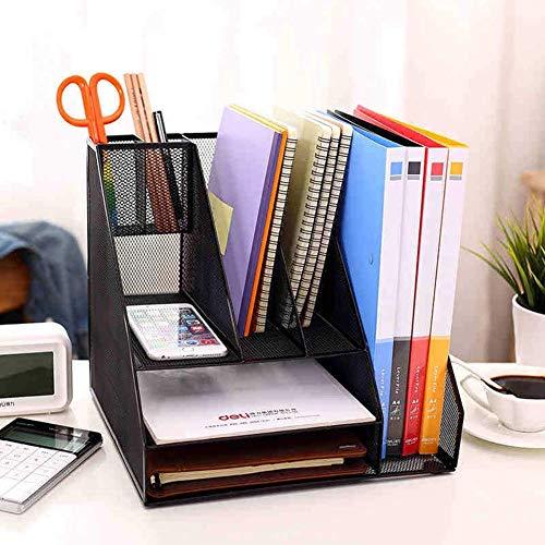 AFDK Organizer da scrivania in metallo, con 7 scomparti in rete, con cestello di smistamento, vassoio per documenti, accessori da scrivania, accessori da ufficio o da casa, nero, nero,Nero