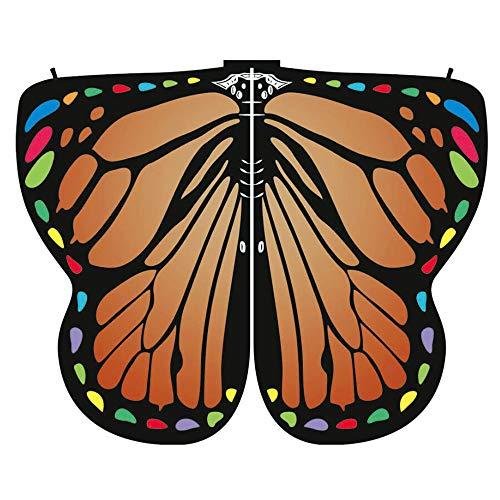 SEWORLD Damen Schmetterling Kostüm Faschingkostüme Schmetterling Schal Erwachsene Poncho Umhang für Party Halloween Weihnachten Kostüm Cosplay Karneval Fasching (C-Orange,170X140CM) (Cosplay Kostüme Tutorial)