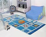 Carpemodo tappeto per bambini ship/blu bianco/100x 165cm/certificato Oeko-Tex Standard