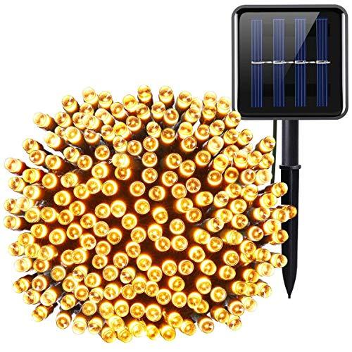 AMIR Solar Lichterkette, 72ft 22m 200 LED Lichterketten, 8 Modi Außenlichterkette, wasserdicht, Lichtsensor Beleuchtung Außen Dekoration für Weinachten, Garten, Hochzeit, Party usw - Warmweiß (Einem Auf Ei String)