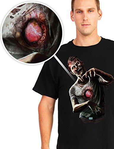 Digital Dudz Halloween T-Shirt Schlagendes Zombie Herz schwarz grau rot (Schlagendes Herz)