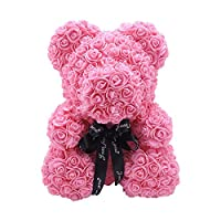 Sliveal Artificial Rose Bear, 25CM Forever Artificial Rose Teddy Bear Dolls, Odorless Rose Soap Gift Bear For Valentine
