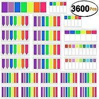 SIQUK 3600 Piezas Marcadores de página de colores Fichas adhesivas Página Marca de marcador Bandera de lunares y rayas Bloc de notas de índice fluorescente Tab, 24 Sets