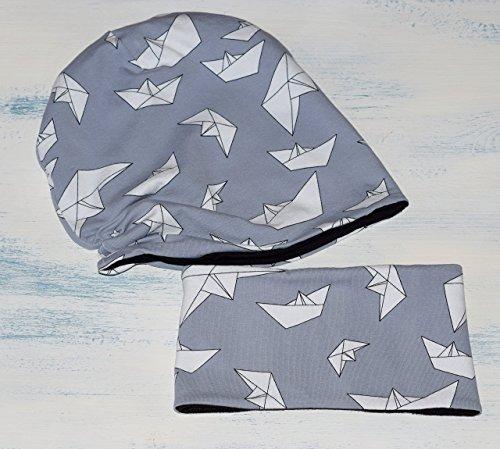 set-di-cappello-hipster-unisex-reversibile-e-sciarpa-per-neonato-e-bambino-slouchy-beanie-di-barche-