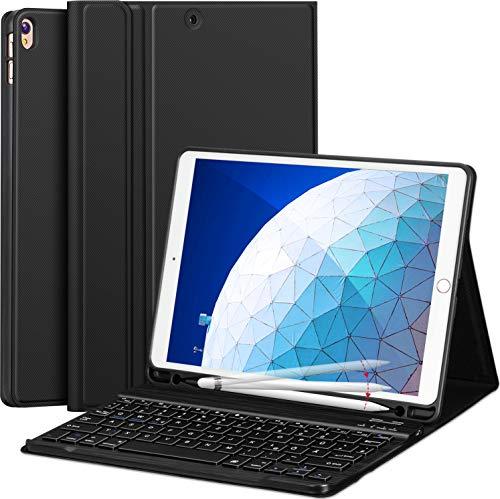 Earto Tastatur Hülle10.5 Zoll kompatibel mit 10.5 Zoll IPad Air (Neu) 2019&IPad Pro 10,5 Zoll 2017 Magnetische Abnehmbare Tastatur PU-Leder Case Standfunktion mit Stifthalter [DEUTSCHES QWERTZ ]