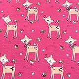 0,5m Jersey süßes REH rosa-pink 95% Baumwolle 5% Elasthan
