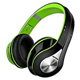 Bluetooth Kopfhörer Over Ear, Mpow Wireless Headset mit integriertem Geräuschunterdrückung-Mikrofon und weichem Ohrpolster, Dual 40mm Treiber, 20 Stunden Spielzeit, 3,5 mm AUX, On-Ear Steurung, Grün