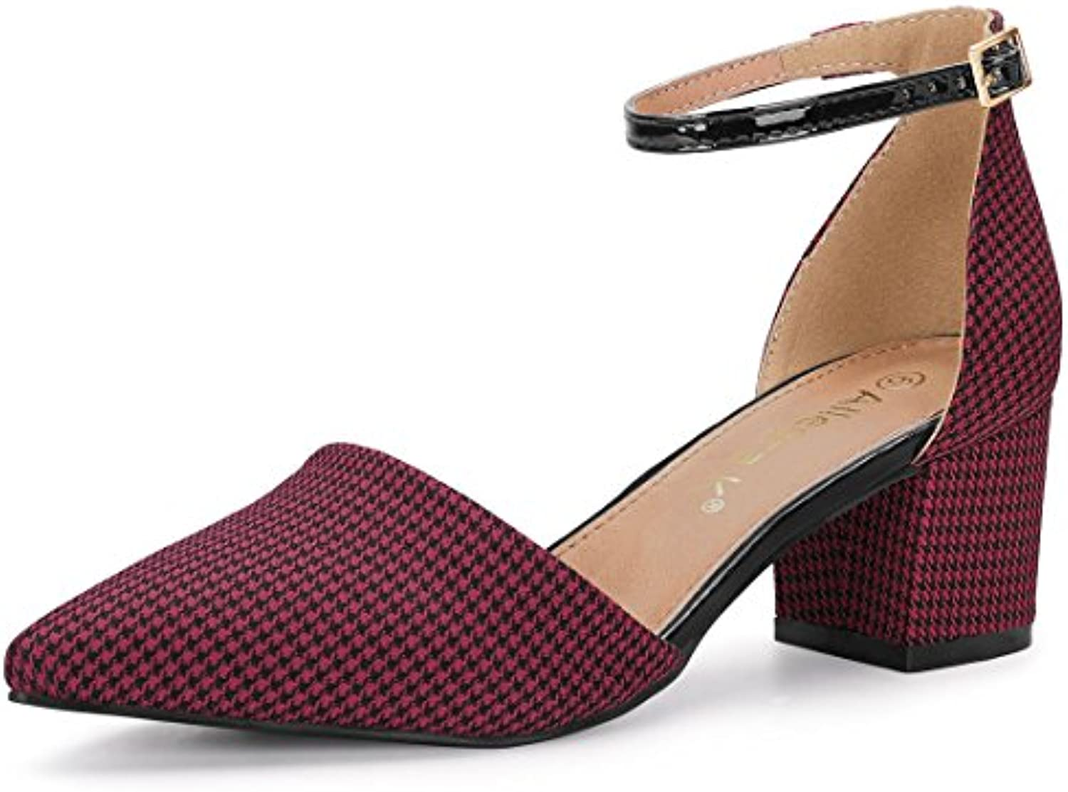 a80e253259d Allegra Block K 30294 Women s Houndstooth Block Heel Ankle Strap Pumps Pumps  B07DCK21G1 Parent 6a9baf8
