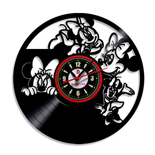 Meet Beauty Ding Schön Mickey Mouse Disney Anime Vinyl Record Wanduhr kreative Kinderzimmer Kunst Dekor - einzigartige handgefertigte Geschenkidee für Jungen Mädchen Halloween Weihnachten