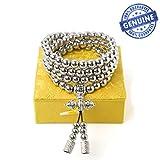 penixon 108 Perles de prière bouddhistes self defense collier en acier inoxydable (Acier Inoxydable Complet)