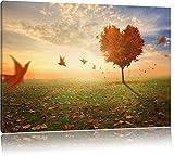 Retro Landscape Rote Wiese Format: 120x80 cm auf Leinwand, XXL riesige Bilder fertig gerahmt mit Keilrahmen, Kunstdruck auf Wandbild mit Rahmen, günstiger als Gemälde oder Ölbild, kein Poster oder Plakat